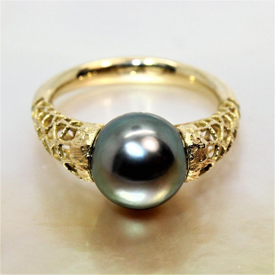 bague or jaune perle