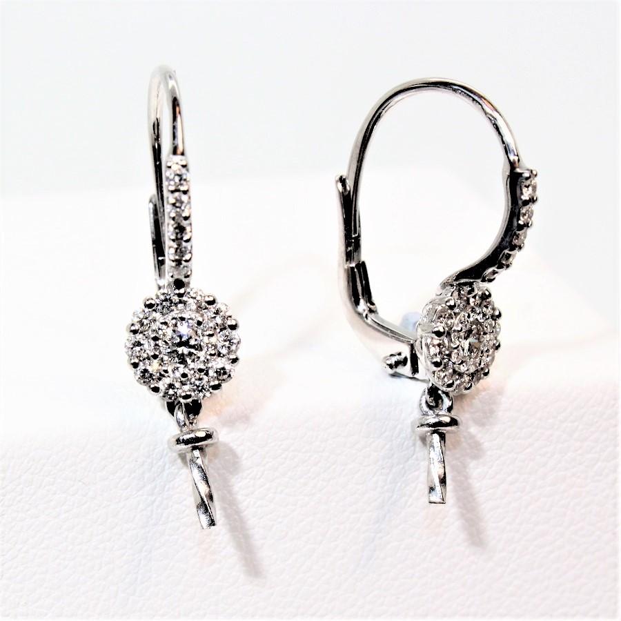 Boucles D Oreilles Diamants Og750 Dormeuses Systemes Pour Perles